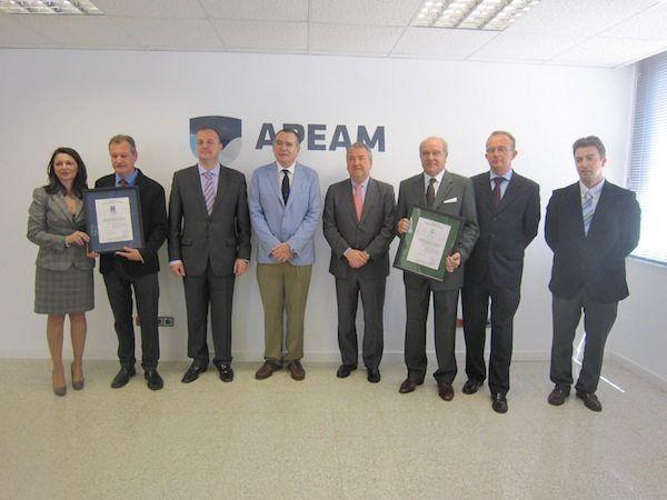 Apeam recibe los Certificados ISO 9001 e ISO 14001