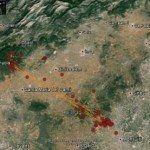 Localitzacions d'un exemplar seguit via satèl·lit al llarg d'una setmana
