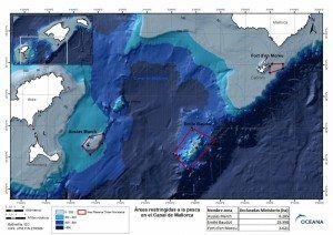 En rojo, áreas que se restringirán a la pesca en el Canal de Mallorca.  © OCEANA
