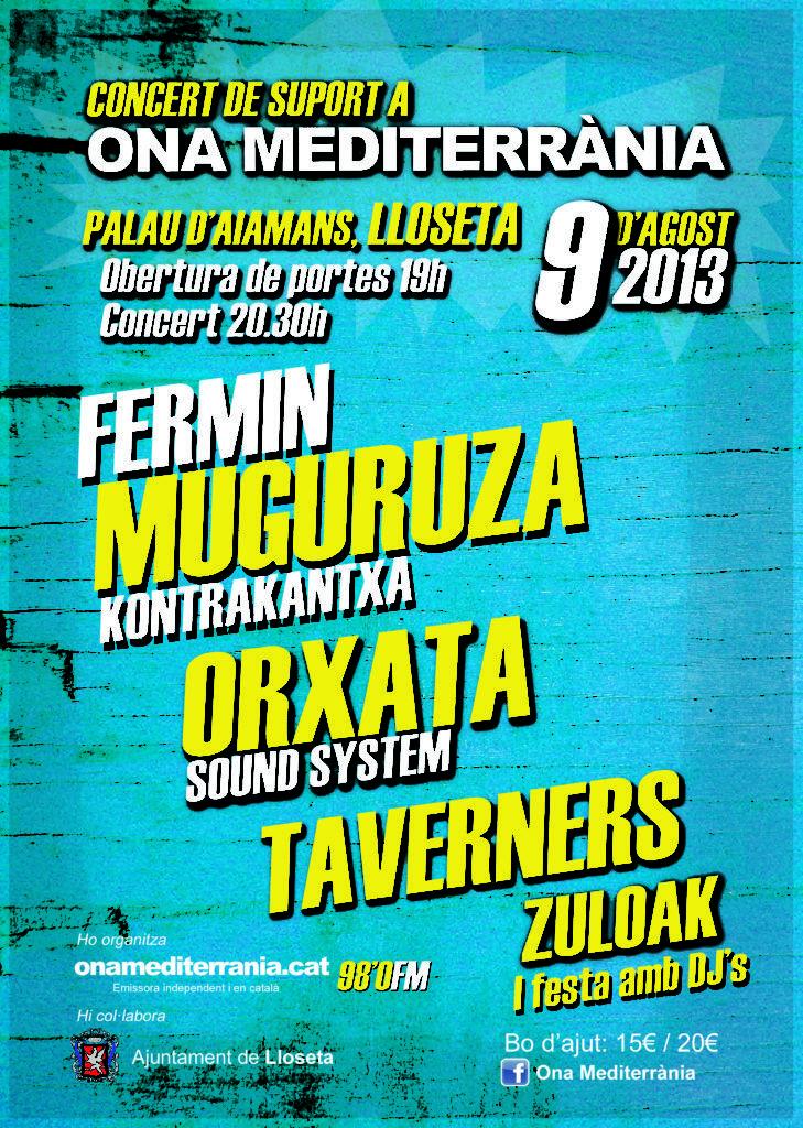 Cartell del Concert de Suport a Ona Mediterrània
