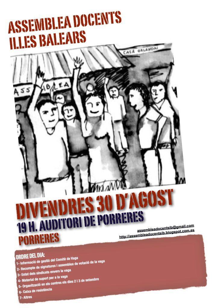 Cartell de l'Assemblea de Docents del 30 d'Agost