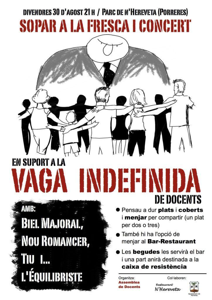 Cartell del sopar i concert que es celebrará a Porreres dia 30 d'agost.