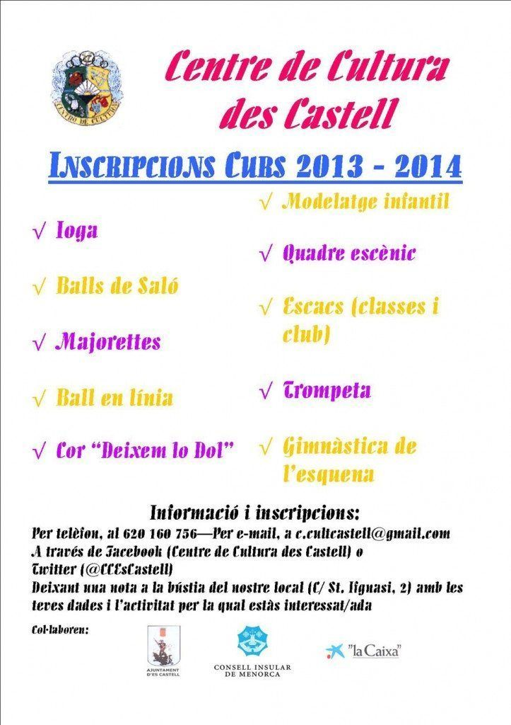 Activitats del Centre Cultural des Castell per l'any 2013.
