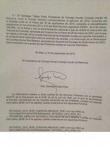 Carta de Santiago Tadeo presentant els Comptes Generals del 2012