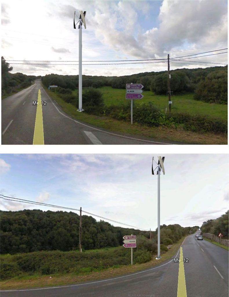 Fotomuntatge que representa com quedarà la carretera de Torralba després de les obres i la instal·lació dels aerogeneradors.