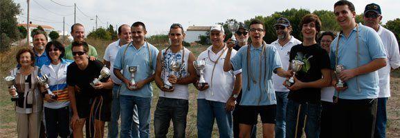 Los ganadores del Campeonato Balear de Tir de Fona que se disputo en la Mola de Formentera.