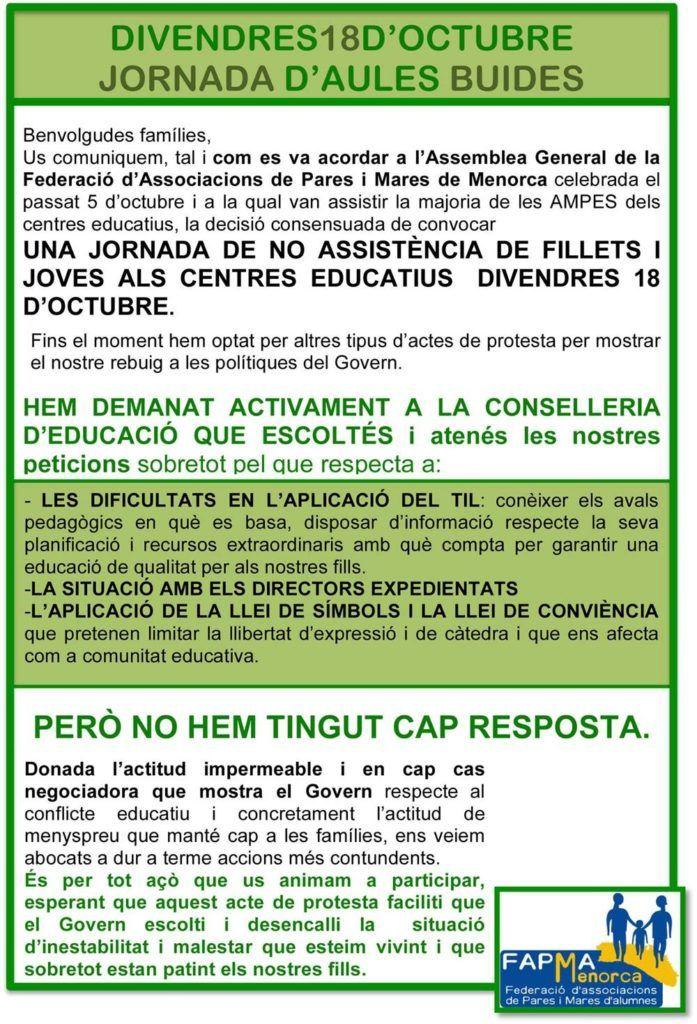Nota informativa de la Federació d'Associacions de Pares i Mares d'alumnes de Menorca, comunicant la convocatòria d'aules buides.