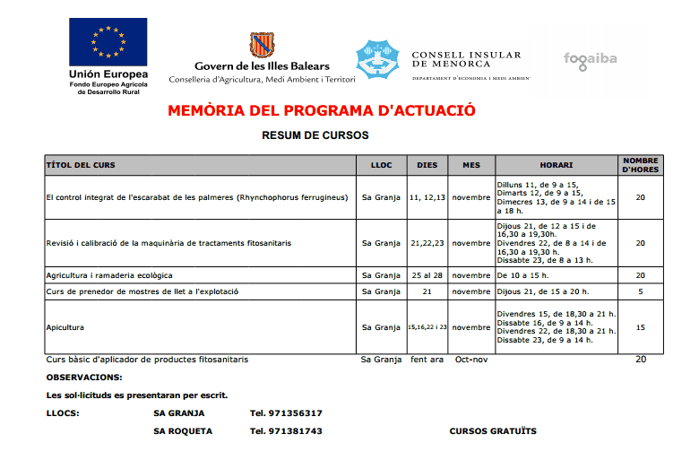 Programa dels nous cursos de Sa Granja.