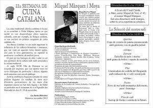 Programa de Cuina Catalana. Primera pàgina.