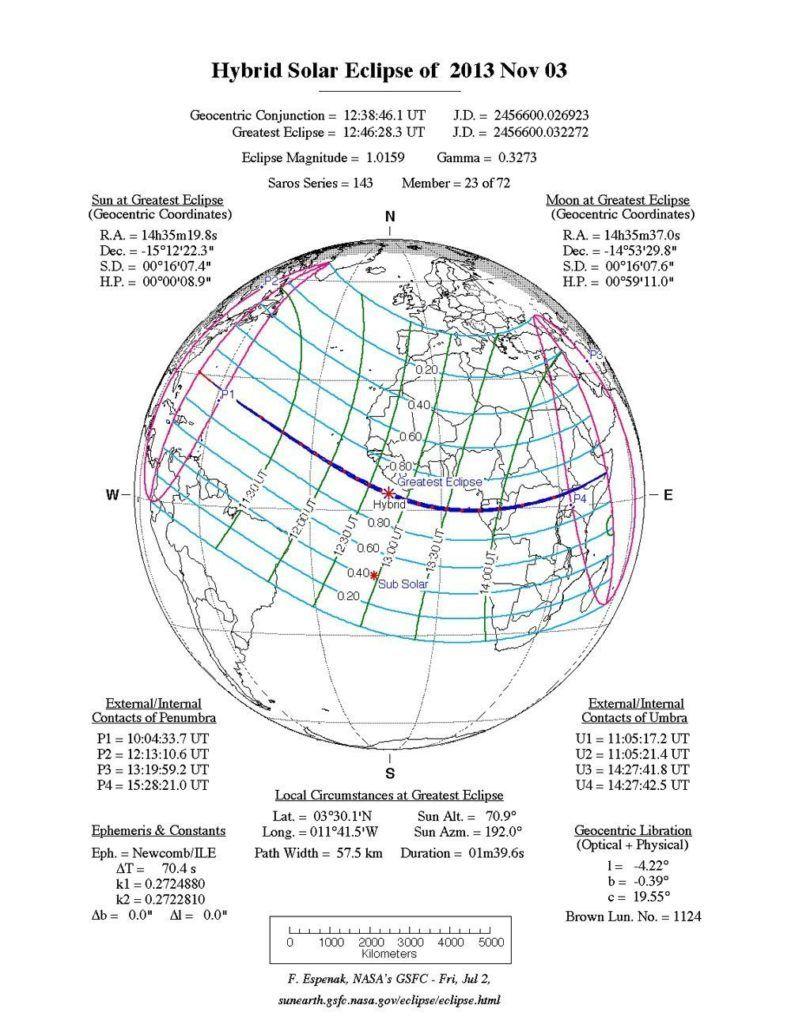 Fig. 2 horari i zones de visualització de l'eclipsi (NASA).