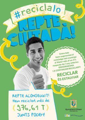 Cartell de la Campanya Reciclalo, Junts podem! de l'Ajuntament d'Alaior.
