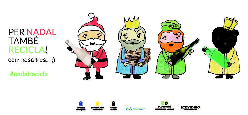 """Imatge de la campanya de Nadal del Consorci de Residus Urbans i Energia de Menorca: """"Per Nadal també recicla! com nosaltres... ;)""""."""