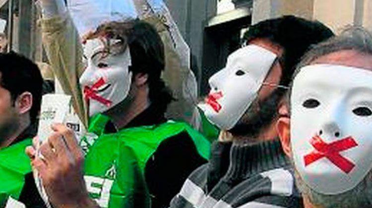 Manifestació d'integrants de l'STEI.