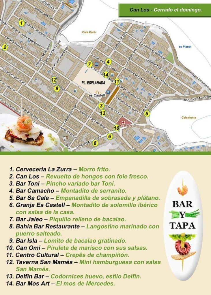 Mapa ruta tapas Es Castell 2015