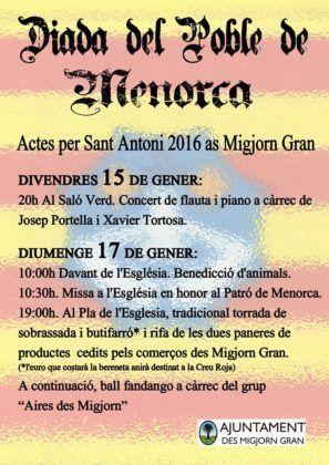 Programa actes Sant Antoni 2016 a Es Migjorn Gran