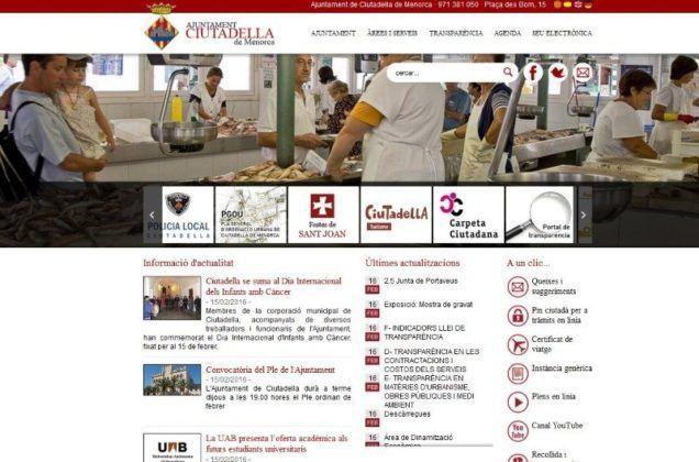 Imatge de la nova web de l'Ajuntament de Ciutadella