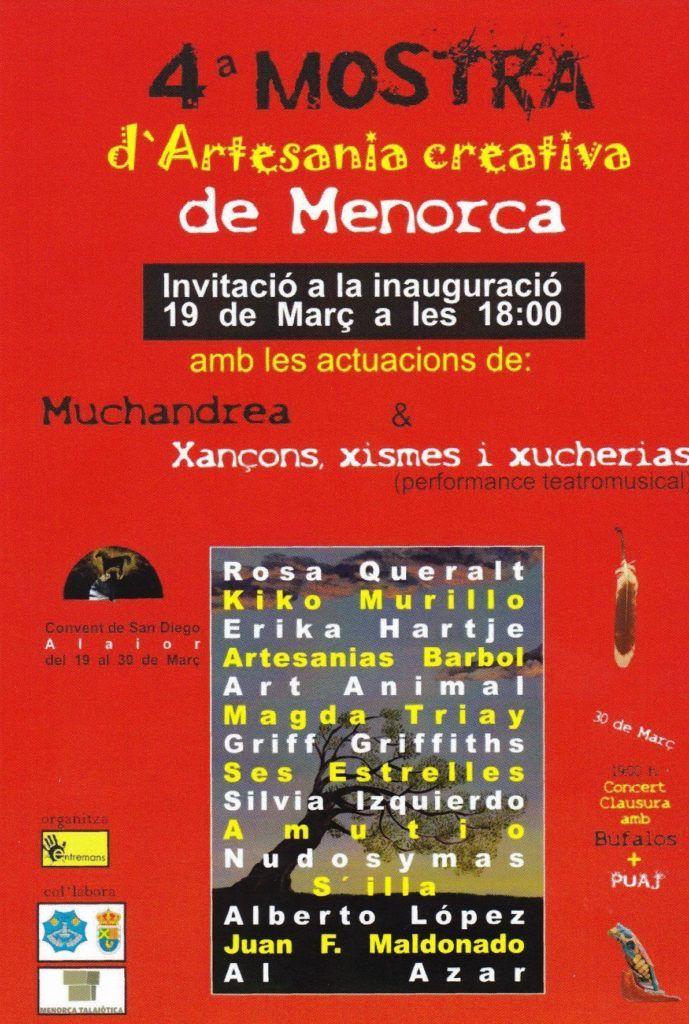 Cartel 4ª Mostra d'Artesania creativa de Menorca