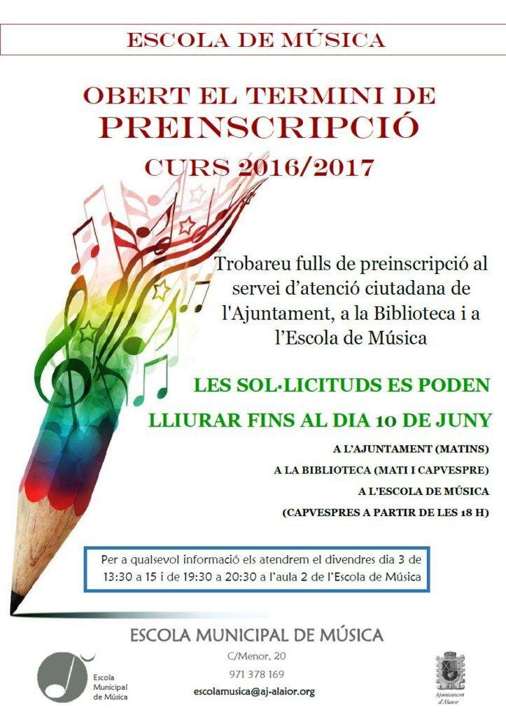 Cartell preinscripcions Escola Municipal de Música