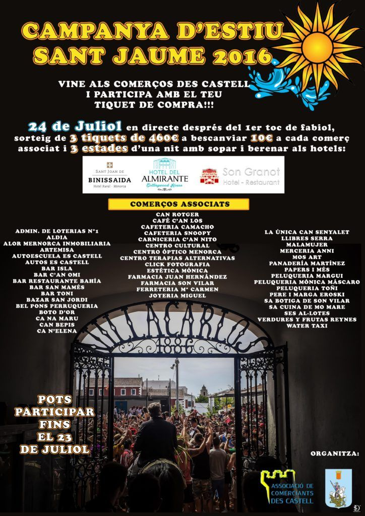 Cartel campaña verano comercios Es Castell