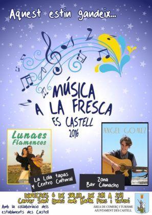 Cartell Música a la Fresca Es Castell 2016
