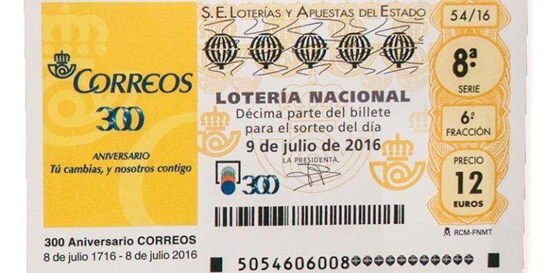 El décimo de la lotería nacional del 300 aniversario de Correos