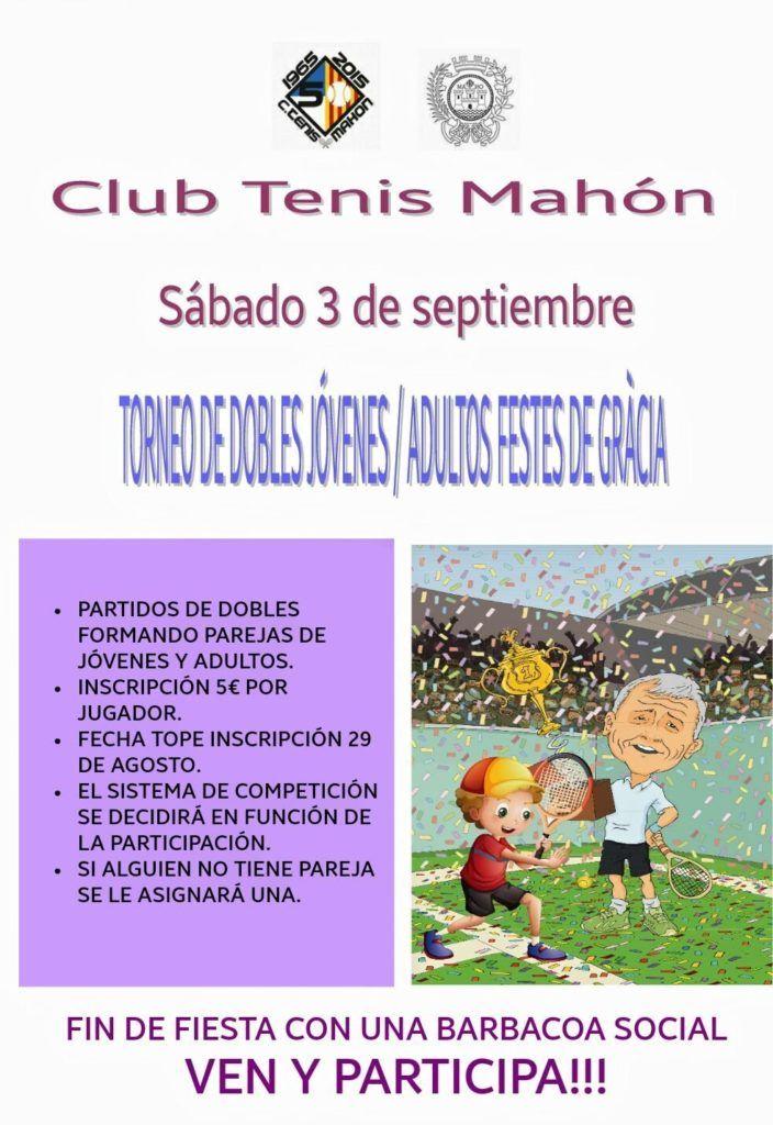 Cartel torneo dobles fiestas de Gracia CT Mahón