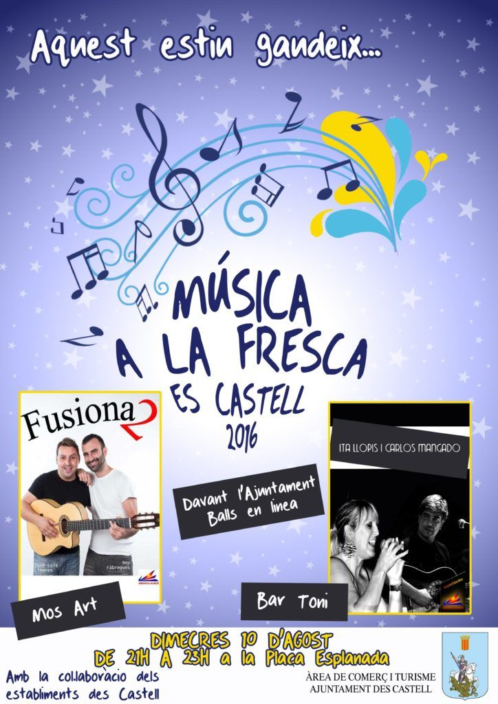 Cartell Música a la Fresca Es Castell (10 agost)