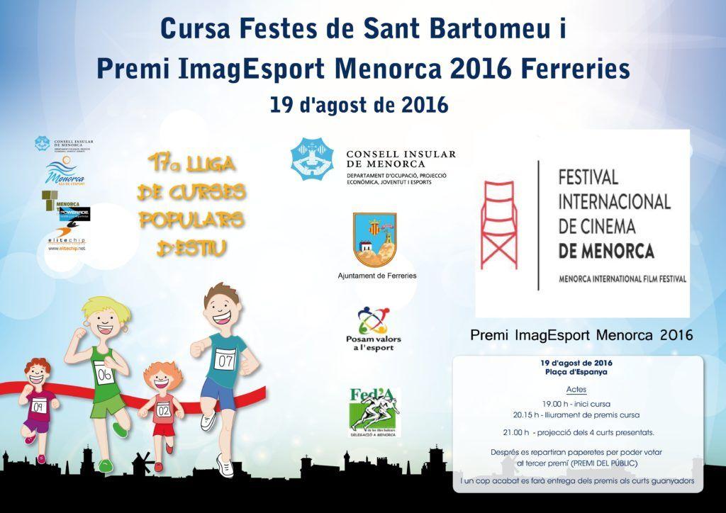 Cartell Cursa Festes de Sant Bartomeu i Premi ImagEsport Menorca 2016