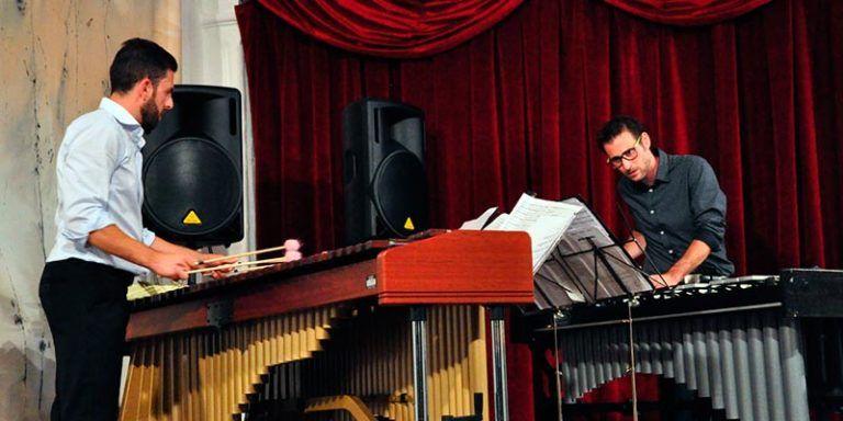 Els percussionistes Cayetano Gómez i Manuel Alcaraz al Festival de Música d'Estiu