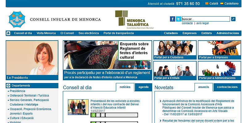 Captura web Consell Insular de Menorca